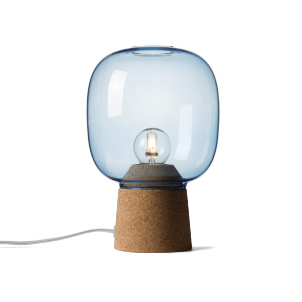 Picia table lamp designed by Enrico Zanolla in blue glass and natural cork, transparent cable, front view