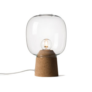 Picia table lamp designed by Enrico Zanolla in clear glass and natural cork, transparent cable, front view