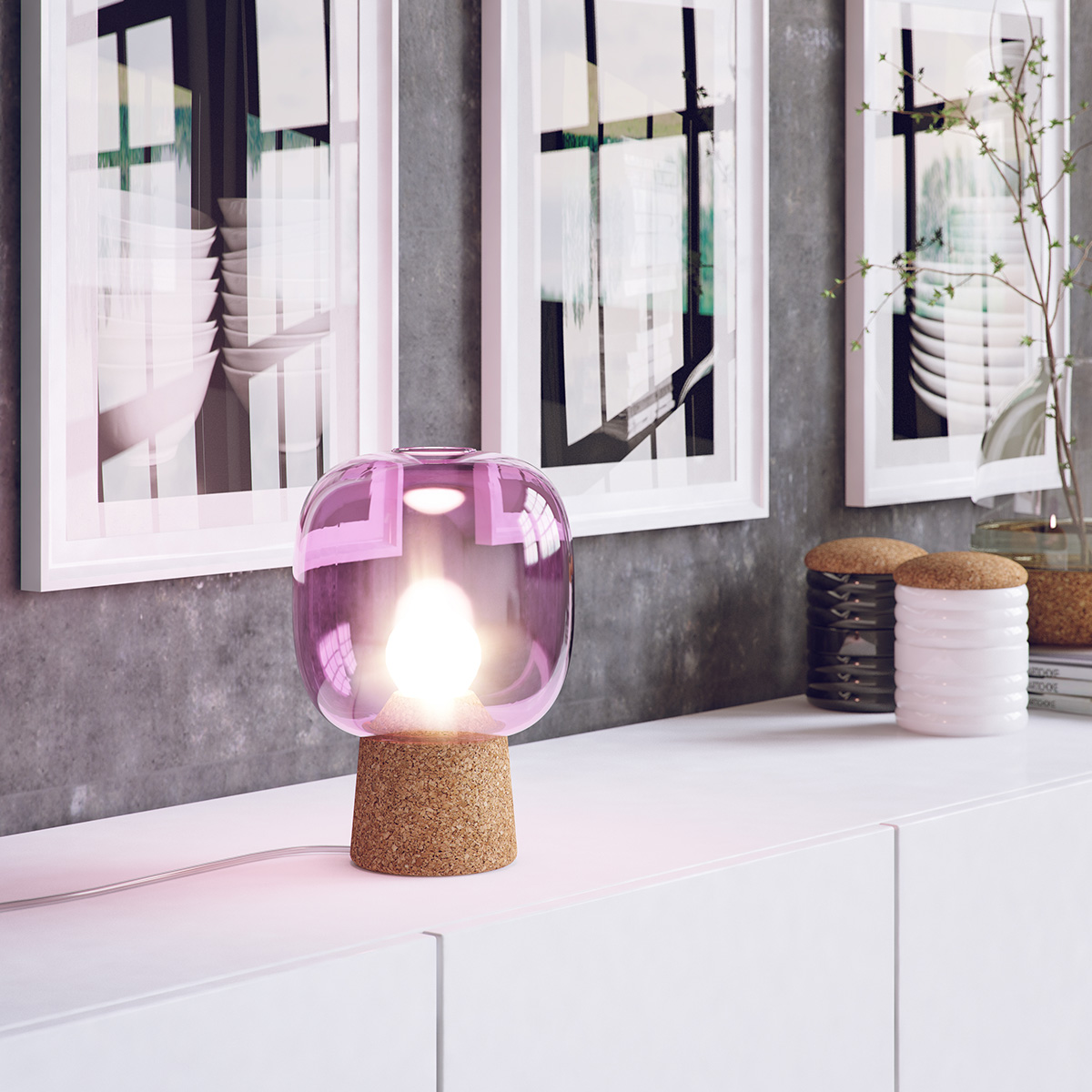 Picia table lamp designed by Enrico Zanolla in purple glass and natural cork on a white side desk emphasizes the beauty of your living room