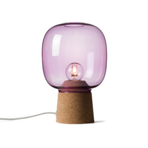 Picia table lamp designed by Enrico Zanolla in purple glass and natural cork, transparent cable, front view
