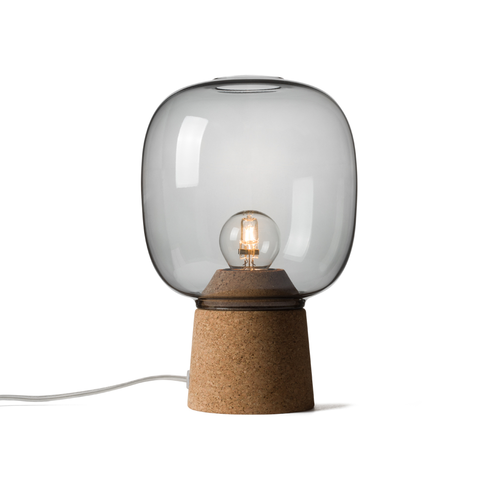Picia table lamp designed by Enrico Zanolla in smoked glass and natural cork, transparent cable, front view
