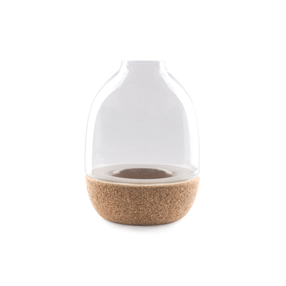 Pitaro vase designed by Enrico Zanolla in clear glass and natural cork, front view
