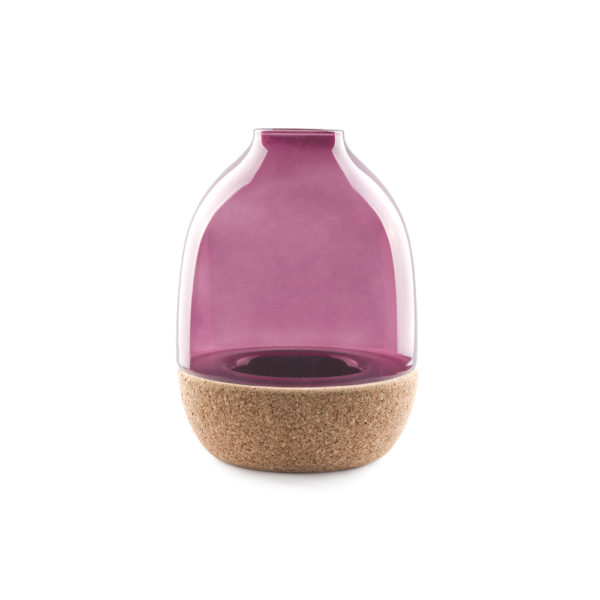 Pitaro vase designed by Enrico Zanolla in purple glass and natural cork, front view