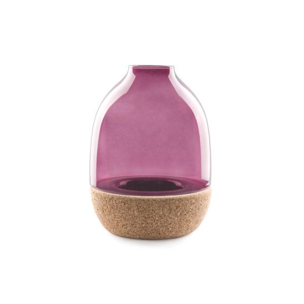 Pitaro vase designed by Enrico Zanolla in purple glass and natural cork, front view