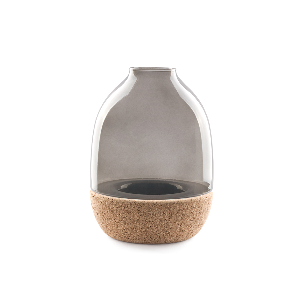 Pitaro vase designed by Enrico Zanolla in smoked glass and natural cork, front view
