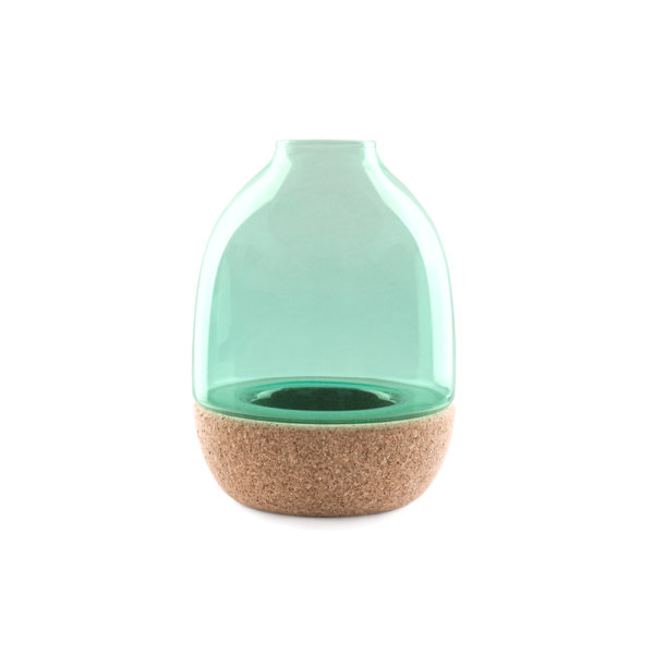 Pitaro vase designed by Enrico Zanolla in green glass and natural cork, front view