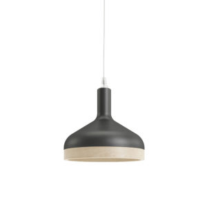 Plera pendant lamp by Enrico Zanolla in matte black ceramic and solid beech wood, front view