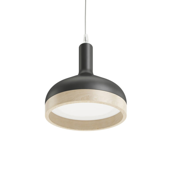 Plera pendant lamp by Enrico Zanolla in matte black ceramic and solid beech wood, bottom view