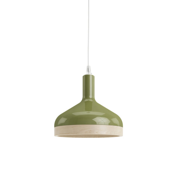 Plera pendant lamp by Enrico Zanolla in green ceramic and solid beech wood, front view