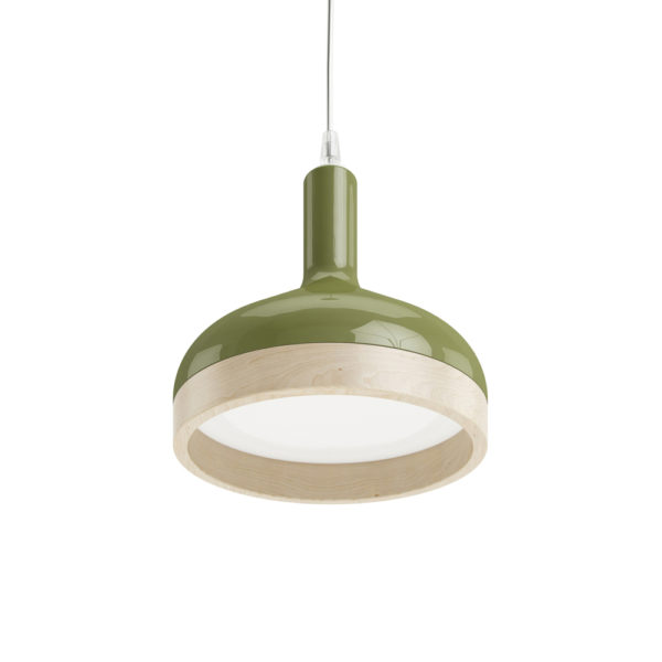 Plera pendant lamp by Enrico Zanolla in green ceramic and solid beech wood, bottom view