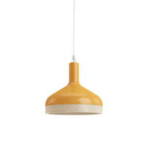 Plera pendant lamp by Enrico Zanolla in orange ceramic and solid beech wood, front view