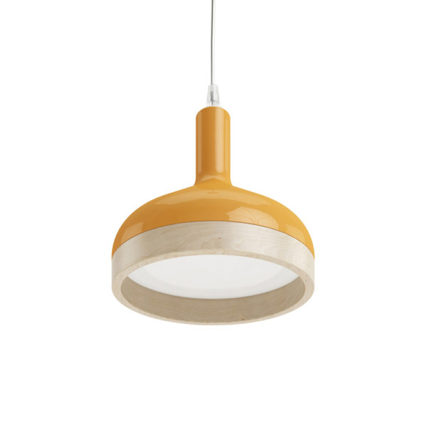 Plera pendant lamp by Enrico Zanolla in orange ceramic and solid beech wood, bottom view
