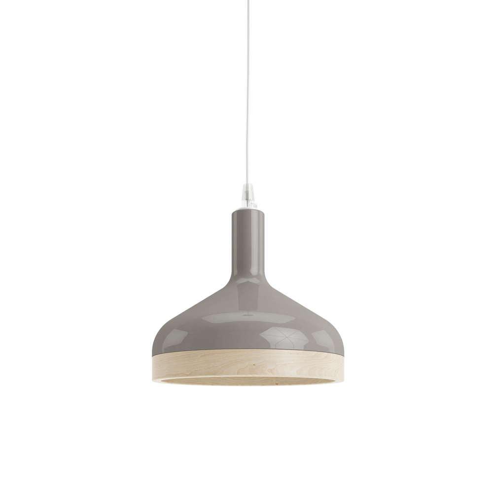 Plera pendant lamp by Enrico Zanolla in grey ceramic and solid beech wood, front view
