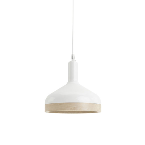 Plera pendant lamp by Enrico Zanolla in white ceramic and solid beech wood, front view