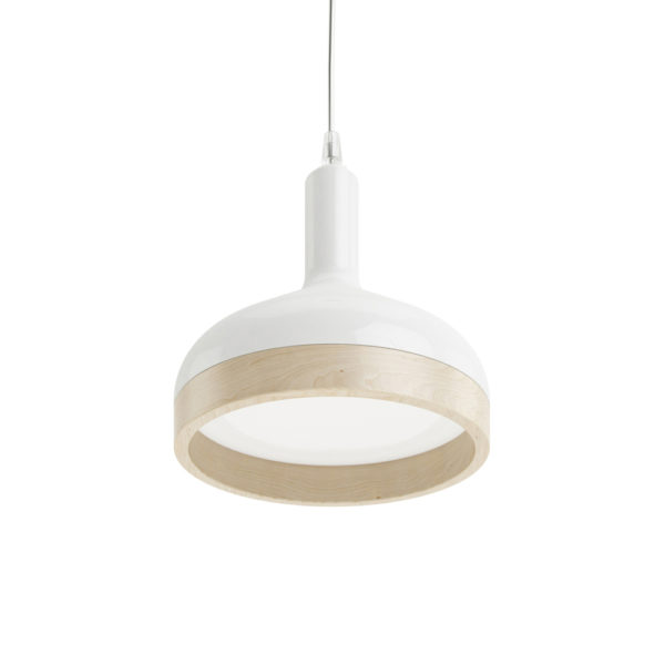 Plera pendant lamp by Enrico Zanolla in white ceramic and solid beech wood, bottom view